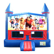 Wreck it Ralph Red and Blue Castle Moonwalk w/basketball goal