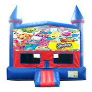 Shopkins Red and Blue Castle Moonwalk w/basketball goal