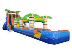 27ft Tropical Water Slide Duel Lane w/ Slip & Slide
