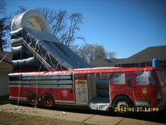 20ft Tall Firetruck Slide -28Lx11Wx20H-