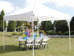 Tent Pop up 10x15 tent w/ 12 Brown Chairs & 2 6ft Tables