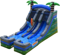 16 ft Tropical Surf Dual Lane Slide - Wet