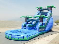 (h) 19ft Blue Rush Water Slide with POOL