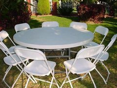 White 5 Foot Round Table