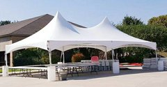 005 Tent 20 x 40 High Peak Frame with 8 tables & 80 chairs, set up grass or concrete