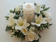 White Flowers with candle center piece