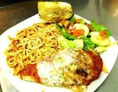 Fish with pasta & salad