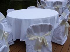 023 White Round Tablecloth 108""