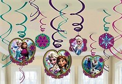 "<strong><span style=""color:#0000ff;"">Disney Frozen Foil Swirl Decorations"