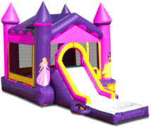 Princess Castle Waterslide With Bounce House Combination