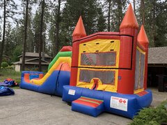Rainbow Castle Bounce House and Dry Slide Combo