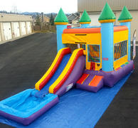 Skittles Water Slide With Bounce House and Basketball Hoop
