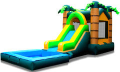 Tropical Palm Water Slide and Bounce House Combo