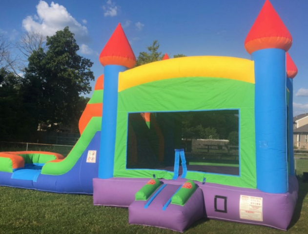 Rainbow Bounce House Slide Combo