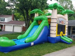 Tropical Bounce House Slide Combo
