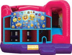 Emoji II Pink Premiere 5-in-1 Extra Large Combination Bounce, Slide and Play Ride