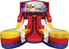 Merry Christmas Santa and Rudolph 17' High Double Delight Dry Slide