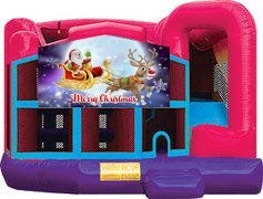 Merry Christmas Santa and Rudolph Pink Premiere 5-in-1 Extra Large Combination Bounce, Slide and Play Ride