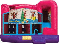 Curious George Christmas Pink Premiere 5-in-1 Extra Large Combination Bounce, Slide and Play Ride