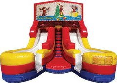 Curious George Christmas 17' High Double Delight Dry Slide