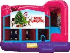 Merry Christmas Pink Premiere 5-in-1 Extra Large Combination Bounce, Slide and Play Ride