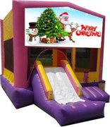 Merry Christmas Pink Playtime Jump and Front Slide - Medium