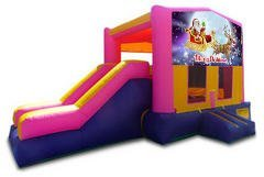 Merry Christmas Santa and Rudolph Pink Partytime Jump and Side Slide - Large
