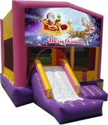 Merry Christmas Santa and Rudolph Pink Playtime Jump and Front Slide - Medium
