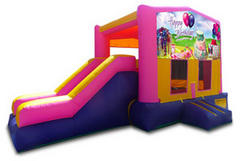 Happy Birthday Cake Pink Playtime Jump and Side Slide with Hoop - Medium