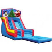 Santa and Snowman 18' High Banner Waterslide with Pool (SW18016)
