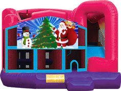 Santa and Snowman Pink Premiere 5-in-1 Extra Large Combination Bounce, Slide and Play Ride