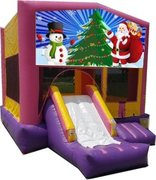 Santa and Snowman Pink Playtime Jump and Front Slide - Medium