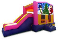 Santa and Snowman Pink Playtime Jump and Side Slide - Medium