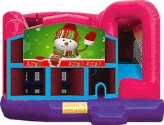 Snowman Pink Premiere 5-in-1 Extra Large Combination Bounce, Slide and Play Ride