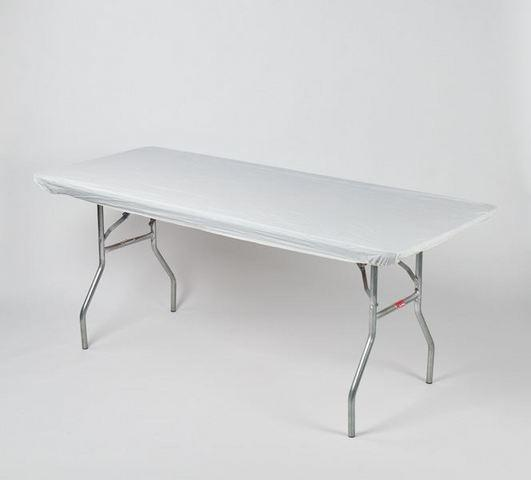 z. Plastic Fitted Table Covers - 8' Banquet White