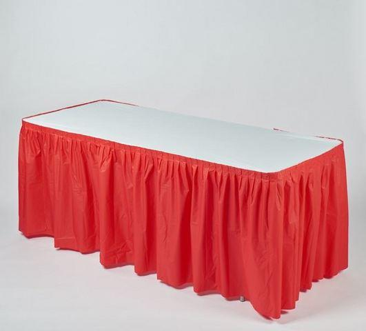 z. Plastic Table Cover & Skirt Combo - 6' Banquet Red
