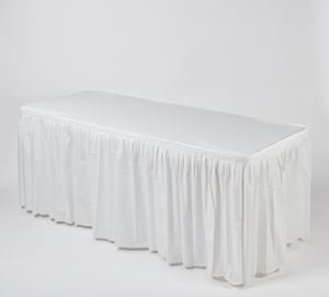 z. Plastic Table Cover & Skirt Combo - 6' Banquet White