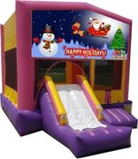 Happy Holidays Pink Playtime Jump and Front Slide - Medium