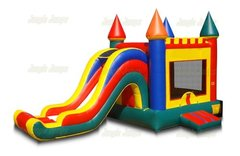 Rainbow Castle Jump, Slide with Hoop