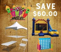 <b><font color=red> SAVE $60 <font/></b> BUILD YOUR OWN PACKAGE    Tent, Bounce House, Tables/Chairs, & Game