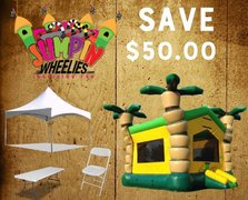<b><font color=red> Save $50 <font/></b> BUILD YOUR OWN PACKAGE       Bounce House Combo, Tent, & Tables/Chairs