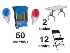 Snow Cone Machine 2 Tables 12 Chairs Bundle