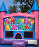 Happy birthday girl bounce house