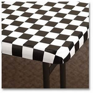 Kwik Covers 6' Rectangle Black / White Check  Table Cover