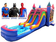 Superheroes Bounce & Double Slide Combo :: Batman-Superman-Spiderman