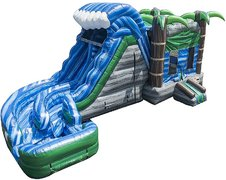 The Hurricane - Bouncy House w/Tall Double Lane Twisted Water Slide & Pool