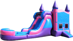 Pink & Purple Bounce House w/Water Slide