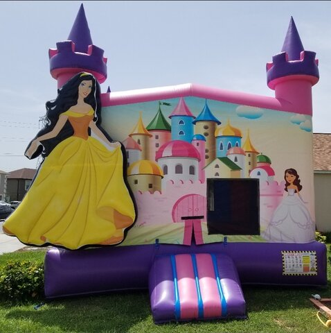 3D Princess Bounce House W. Basketball Hoop