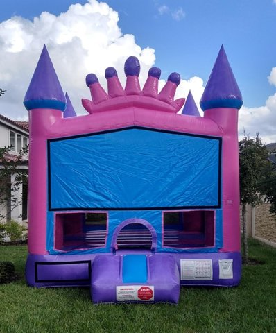 Princess Pink Crown Bounce House With Basketball Hoop