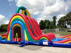 Thrilling 22' Triple Lane Extreme Water Slide and Bounce House Combo